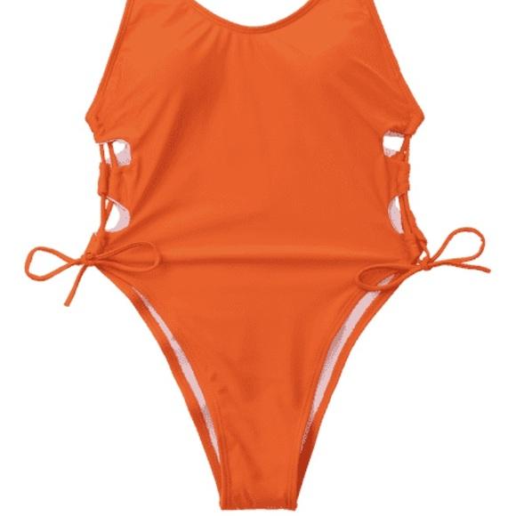 d68cc77328114 Orange high cut tie side swimsuit-M-NWT  liner